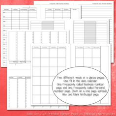 Basic Set 2 A5 Planner Pages for Filofax, Franklin Covey, Day Runner and More