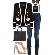 Casual Friday by samonesays on Polyvore featuring polyvore, fashion, style, Balmain, rag & bone, Christian Louboutin, Yves Saint Laurent, Thierry Lasry, Dolce&Gabbana and Chanel