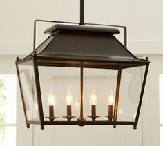 Choosing a Hanging Lantern Pendant for the Kitchen - Driven by Decor-Pottery Barn Stanyan Lantern over dining table-no longer available, but the style would be lovely if we can find a similar lantern elsewhere Kitchen Lighting Over Table, Kitchen Lighting Fixtures, Dining Room Lighting, Home Lighting, Light Fixtures, Dining Rooms, Lighting Ideas, Table Lighting, Dining Table