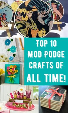 'Top 10 Mod Podge crafts of all time.' (via Mod Podge Rocks) Diy Craft Projects, Diy Arts And Crafts, Cute Crafts, Creative Crafts, Diy Crafts To Sell, Diy Crafts For Kids, Easy Crafts, Craft Ideas, Paper Crafts