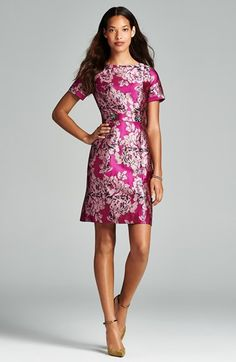 Adrianna Papell Embellished Jacquard Sheath Dress | Nordstrom