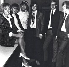 Lulu with Keith Relf → Mickie Most and Jimmy Page of the Yardbirds and Lek Lekenby and Peter Noone of Herman's Hermits, 1965.jpg