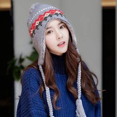 49bfdb00 Geometric knit hat with ear flaps for teenage girls winter fleece bomber  hats