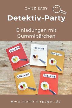Zum 8. Geburtstag gab es bei uns eine Detektivparty. Die Idee für eine coole Einladung für den Kindergeburtstag mit dem Motto Detektivparty findet ihr bei mir. #kindergeburtstag #detektivparty #einladung #kinderparty Blog, Moritz, News, Homemade Invitations, 8th Birthday, Craft Instructions For Kids, Underwater Party