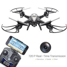 Holy Stone HS200 FPV Drone with 720P HD Live Video Wifi Camera 2.4GHz 4CH 6-Axis Gyro RC Quadcopter with Altitude Hold, Gravity Sensor and Headless Mode Function RTF, Black: 89 pund