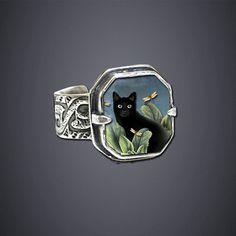 Black Cat Ring: Dawn Estrin: Silver Ring - Artful Home Cat Jewelry, Animal Jewelry, Jewelry Art, Jewelry Rings, Silver Jewelry, Jewelry Accessories, Jewelry Design, Silver Rings, Jewlery