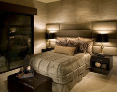 I love the lines and texture in this cozy bedroom.