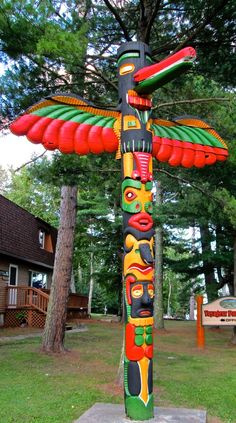 Totem Pole Preserved at Kabetogama Lake, Minnesota