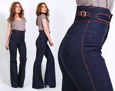 vintage 70s BELLBOTTOM Jeans XS highest waist by TinRoofVintage