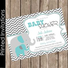 Gris y turquesa azul ducha invitación elefantito bebé ducha
