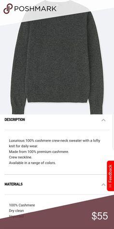 510f7c6788f3 Uniqlo Cashmere Dark Grey Sweater Uniqlo Cashmere Dark Grey Sweater Uniqlo  Sweaters Uniqlo