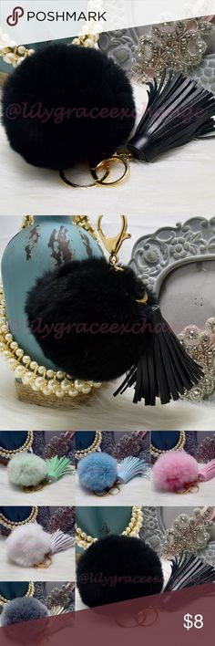 Black pom pom fur ball with tassel keychain NWOT! Brand new!! Made with Rabbit fur & PU leather Gold hardware.  Size: (approx) Ball Diameter = 8cm  Its a keychain, you can also use it to put as purse charm, key fob or whatever your heart desires.   Great gift for your family, friends or your self.  ** color might be slightly different cause of the lightning  Great for your Louis Vuitton, Prada, Fendi, Chanel, Michael Kors, Gucci, Coach Tory Burch, Kate spade, Marc jacobs and others…