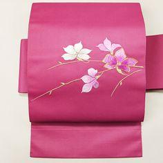 Purple, vintage nagoya obi /【名古屋帯】リサイクル着物/濃いピンク色刺繍のお太鼓花柄化繊八寸 http://www.rakuten.co.jp/aiyama/