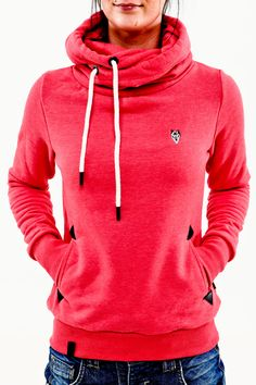 Naketano Darth II candy red melange Women Girls Hoodie Kapuze Pullover