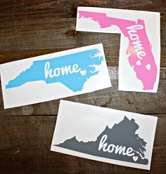 State Car Decal,State Home Decal, State Love Decal, North Carolina Decal, Florida Decal, Virginia Decal, Vinyl Decal, Home State by AuntSissysHouse on Etsy https://www.etsy.com/listing/265147788/state-car-decalstate-home-decal-state