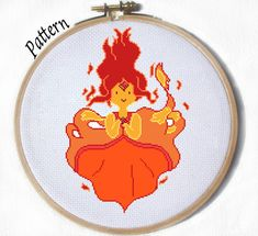 Flame Princess Cross stitch pattern by ~JuliefooDesigns on deviantART