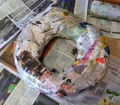 how to make the form use railroad board cut and tape together. Giant paper mache food sculptures