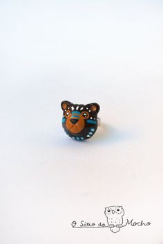 Bear ring | Brown, blue and white | Etnic style | Handmade