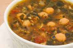 Chickpea (Garbanzo Bean) Soup Recipe with Spinach, Tomatoes, and Basil [from KalynsKitchen.com]