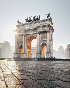 The Arch of Peace in Milan - Lombardy, Italy  ✈✈✈ Don't miss your chance to win a Free International Roundtrip Ticket to Milan, Italy from anywhere in the world **GIVEAWAY** ✈✈✈ https://thedecisionmoment.com/free-roundtrip-tickets-to-europe-italy-milan/
