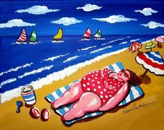 Big Beach Diva Sunbather Fun and Whimsical by reniebritenbucher Wall Art Prints, Canvas Prints, Plus Size Art, Art Terms, Fat Art, Custom Canvas, Whimsical Art, Beach Art, Stone Art