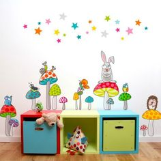 Ce sticker les champipis de la marque Série-Golo apporte un décor ludique et coloré à la chambre d'un enfant. Nursery Paintings, Doodle Art, Decoration, Baby Room, Toy Chest, Playroom, Kids Room, Doodles, Baby Shower