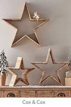 Bring a natural element to a Scandi festive interior with Cox and Cox's set of three rattan stars in a small, medium and large. Bring a natural element to a Scandi festive interior with Cox and Cox's set of three rattan stars in a small, medium and large. Diy Christmas Star, Scandi Christmas, Outdoor Christmas, Handmade Christmas, Christmas 2019, Christmas Christmas, New Years Eve Decorations, Ramadan Decorations, Diy Snowman Decorations