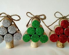 Set of Three Wine Cork Pumpkins by TrueVineGifts on EtsyYou can find Wine corks and more on our website.Set of Three Wine Cork Pumpkins by TrueVineGifts on Etsy Christmas Ornament Crafts, Christmas Wine, Christmas Crafts For Kids, Holiday Crafts, Wine Cork Art, Wine Cork Crafts, Wine Corks, Champagne Cork Crafts, Wine Cork Ornaments