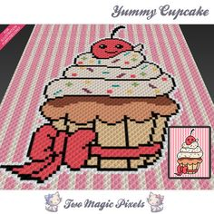 Yummy Cupcake crochet blanket pattern knitting by TwoMagicPixels