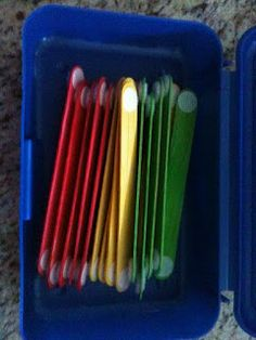 I love the idea behind this craft sticks. They can be used for making letters and shapes by adding Velcro to both sides. I'm finding such great ideas here.