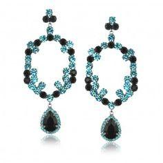 Maxi brinco com cristais preto e azul folheado em rhodium escuro - BR282RO3291