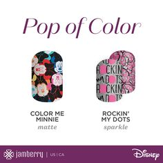 https://flic.kr/p/CYFeUq | Disney_SMS-Icon-Collections-PopOfColor_020216 |  Let your mani pop! 'Color me Minnie' and 'Rockin' the Dots' are the perfect Disney Minnie Mouse designs for making a fashion statement. Shop these playful designs here aimeepostma.jamberry.com