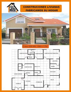 Full House Prefabricados Modern House Plans, Small House Plans, Jacuzzi, Two Bedroom House, Future House, Art Nouveau, Shed, Villa, Floor Plans