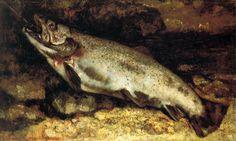 """G. COURBET La truite ( à l'envers) Orsay, NOT """"Gustave Courbet self portrait (!) in prison."""""""