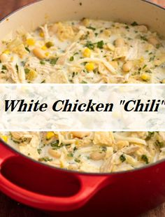 White Chicken Chili When we're craving something hearty and healthy, this chicken chili immediately jumps to mind. Chicken Soup Recipes, Chili Recipes, Crockpot Recipes, Cooking Recipes, Healthy Recipes, White Bean Chicken Chili, Crockpot White Chicken Chili, White Bean Chili, Recipe Today