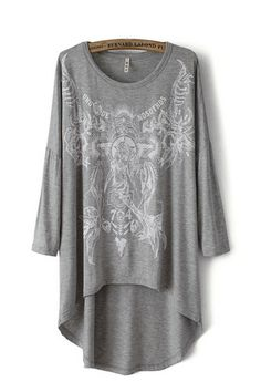 Gray High Collar Round Collar Abstract Print T-shirt | Fashion4you - Clothing on ArtFire