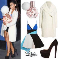 Ariana Grande: Fuzzy Coat, Colorblock Dress