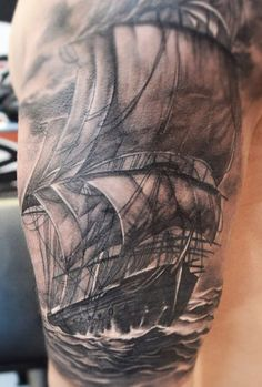 Black and grey photo realistic ship by Elvin Yong #InkedMagazine #Inked #tattoo #tattoos #realistic #nautical #ship