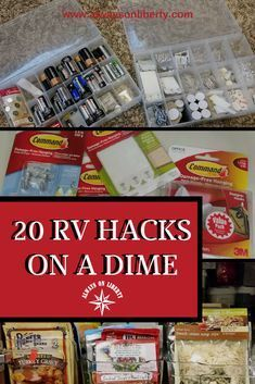 20 RV and Camper Hacks on a Dime - Always On Liberty - Try these RV hacks, tricks and ideas for your RV, camper or boat. These tips work for any motorhome - Travel Trailer Organization, Travel Trailer Camping, Camping Car, Outdoor Camping, Camping Ideas, Rv Organization, Travel Trailers, Rv Travel, Camping Stuff
