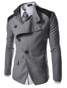 HBJ TheLees Mens casual china collar rider style slim Jacket Gray US L(Tag size Sharp Dressed Man, Well Dressed Men, Traje Slim, Look Fashion, Mens Fashion, Moda Formal, Look Man, Gray Jacket, Blazer Jacket