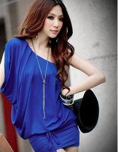 Morpheus Boutique  - Blue One shoulder Kimono Sleeve banded clubwear Mini Dress