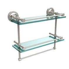 Allied Brass 16 in. W Gallery Double Glass Shelf with Towel Bar in