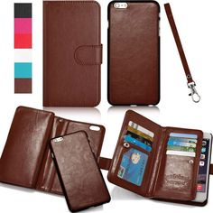 Magnetic 2in1 Luxury Leather Wristlet Card Strap Flip Wallet Phone Case Cover #UnbrandedGeneric