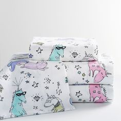 PB Teen Unique Unicorn Flannel Sheet Set, Twin/Twin XL, Multi featuring polyvore, home, bed & bath, bedding, bed sheets, twin xl sheet sets, twin extra long fitted sheets, twin xl flannel sheet sets, flannel fitted sheet and twin bed sheet sets