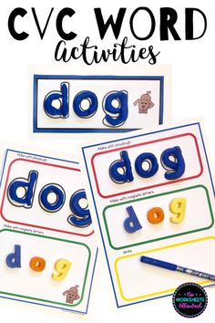 Teach your students to read 3 letter CVC words with this phonics activity! Includes three levels of difficulty, from making words with playdough, to using magnetic letters and finally writing the words themselves. Cvc Words, Phonics Activities, Learning Activities, Creative Teaching, Teaching Ideas, Making Words, Activity Mat, 3 Letter