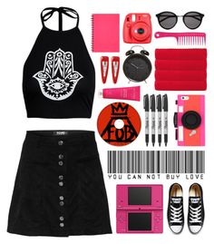 """Street Style"" by lover-of-pie ❤ liked on Polyvore featuring Kate Spade, Nintendo, Fuji, Evolve, Sharpie, Converse, Olivier Desforges, Yves Saint Laurent and Forever 21"