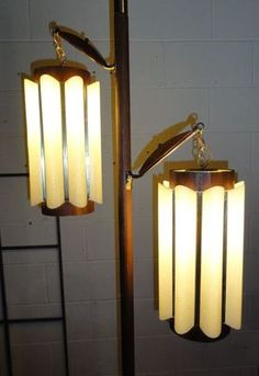 Vintage Mid Century Modern Floor Tension Pole Lamp Light Pendant Walnut Shades | eBay                                                                                                                                                                                 More