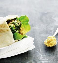 Pita med hummus stegte squash
