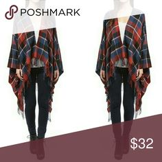 Plaid Poncho Red, blue and white poncho - so soft and easy to wear. Great over jeans or leggings. 100% acrylic. One size fits all. Sweaters Shrugs & Ponchos