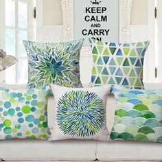 Aquarela verde dots geométrica capa de almofada almofada de impressão moderno sofá throw pillow caso 45 cm quadrado retângulo cojines